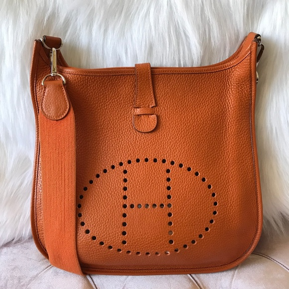 d842425d889a Hermes Bags | Evelyne Ii Gm Clemence Orange Crossbody Bag | Poshmark
